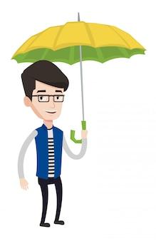 Бизнесмен страховой агент с зонтиком.