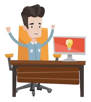 Успешная бизнес идея иллюстрации.