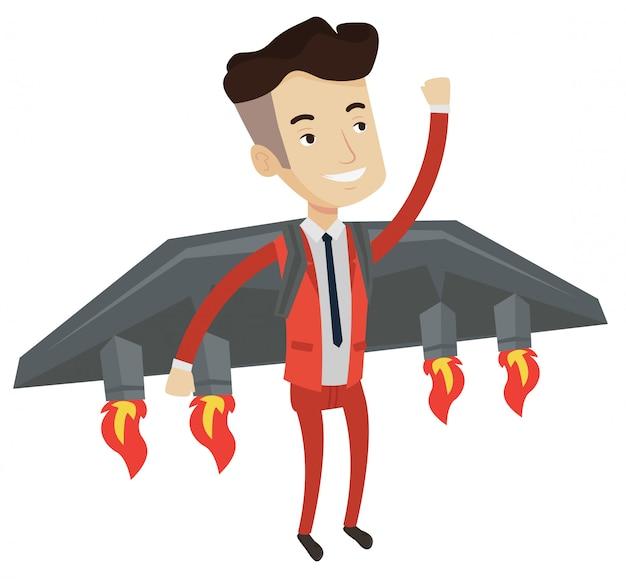 Счастливый бизнесмен летит на ракете к успеху.