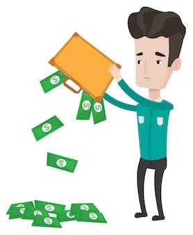 破産者はブリーフケースからお金を振り払った。