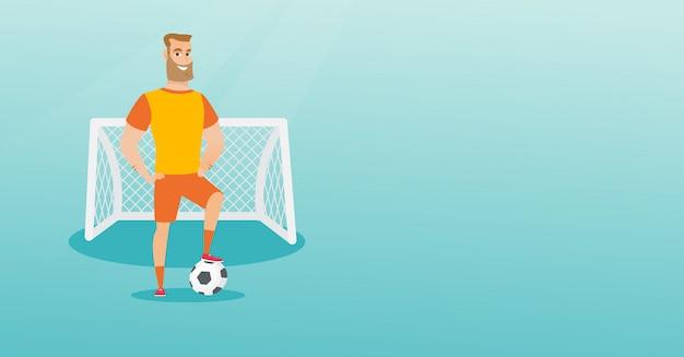 ボールを持つ若い白人のフットボール選手。