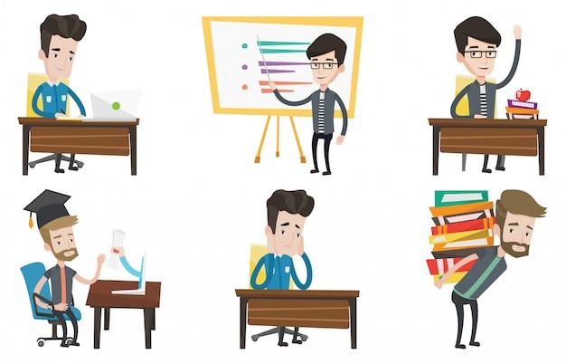 学生と教師の文字のベクトルを設定します。