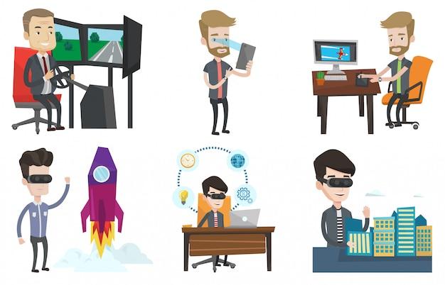 Векторный набор людей, использующих современные технологии.