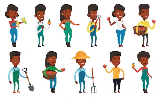 Набор сельскохозяйственных иллюстраций с фермерами.
