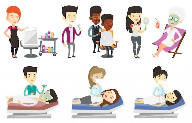 Векторный набор людей во время косметических процедур.