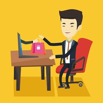 Человек, покупки в интернете векторные иллюстрации.