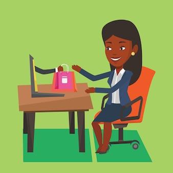 オンラインショッピングのベクトル図の女性。