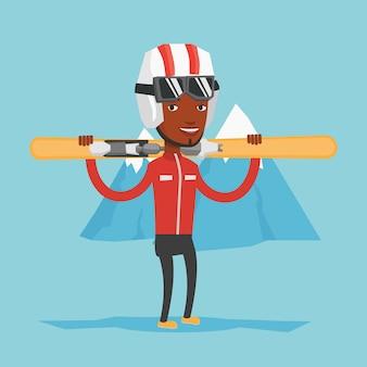 Человек, держащий лыжи векторные иллюстрации.