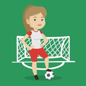 ボールのベクトル図のフットボール選手。