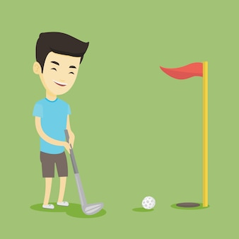 Гольфист, ударяя мяч векторные иллюстрации.