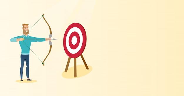 Лучник целится с луком и стрелами на цель.