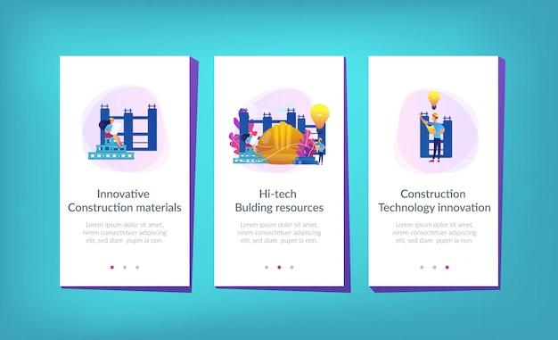 革新的な建設資材アプリのインターフェイステンプレート。