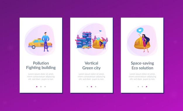 垂直の緑の都市のアプリインターフェイステンプレート。