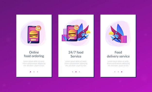 食品配送サービスアプリのインターフェイステンプレート。
