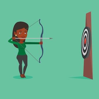 Арчер целится с луком и стрелами на цель.