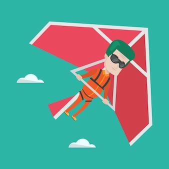 ハンググライダーのベクトル図を飛んでいる男。