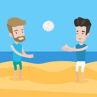Двое мужчин играют в пляжный волейбол.