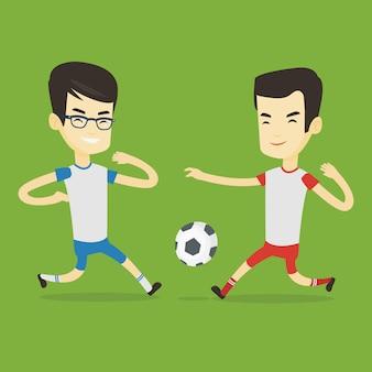 Два мужских футболистов, борющихся за мяч.