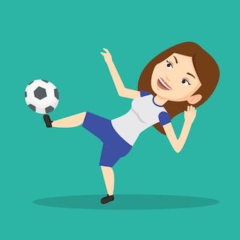 ボールのベクトル図を蹴るサッカー選手。