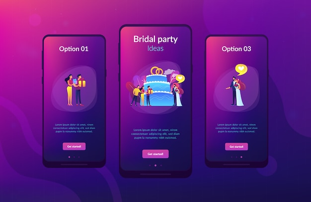 Шаблон интерфейса приложения свадьбы.