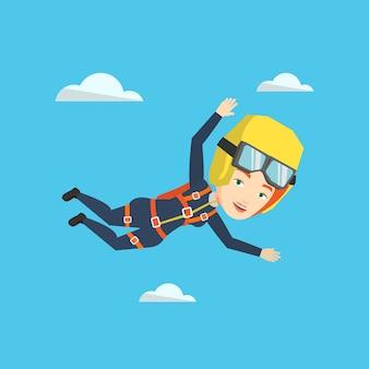 白人の落下傘兵がパラシュートでジャンプします。