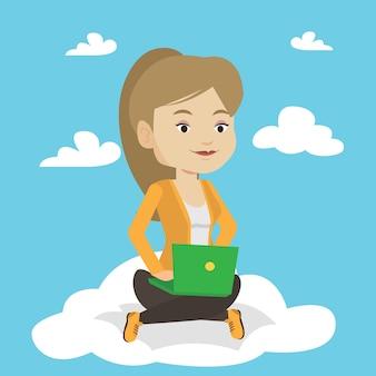 Женщина с использованием технологии облачных вычислений.