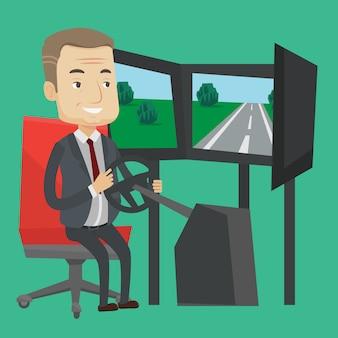 Человек играет видеоигра с игровым колесом.