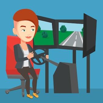Женщина играет видеоигра с игровым колесом.
