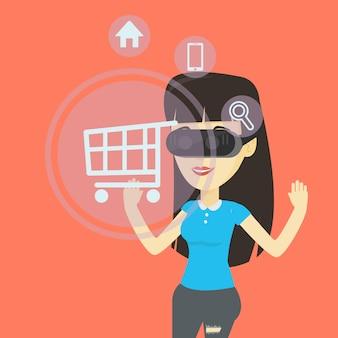 Женщина в виртуальной реальности гарнитуры, делая покупки онлайн.