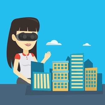 仮想現実のヘッドセットを着て幸せな若い女。
