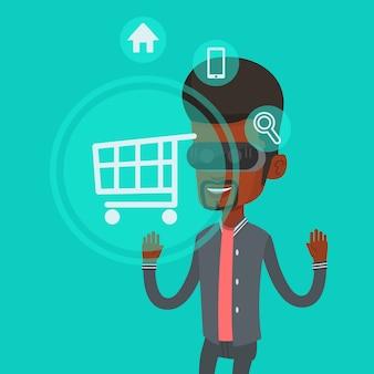 Человек в виртуальной реальности гарнитуры, делая покупки онлайн.