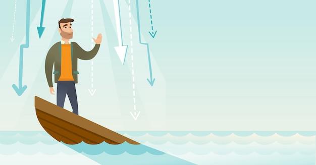 Бизнес женщина, стоящая в тонущей лодке.