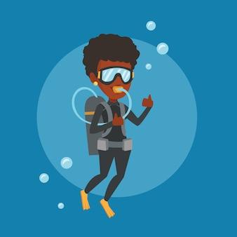 Женщина, ныряющая с аквалангом и показывающая большой палец вверх.