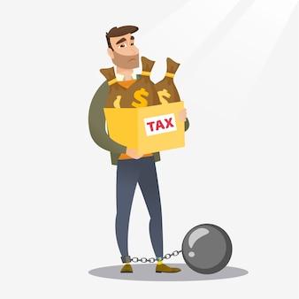 税金がいっぱい入った袋でチェーンの女性。