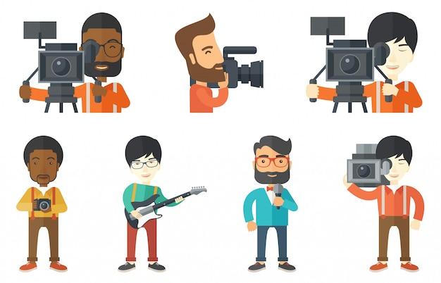 Векторный набор медиа людей символов.
