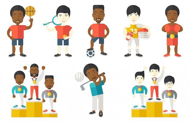 Векторный набор спортивных персонажей.