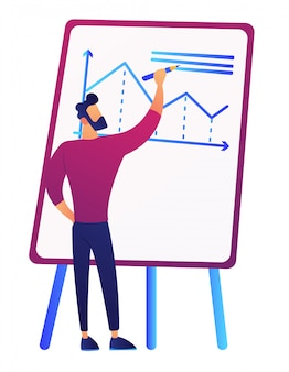 ボードのベクトル図に成長チャートを描くビジネスマン。