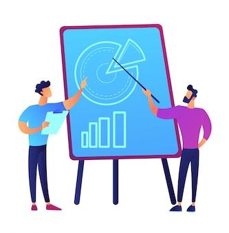 ボード上のベクトル図の円グラフグラフでプレゼンテーションを行う実業家。