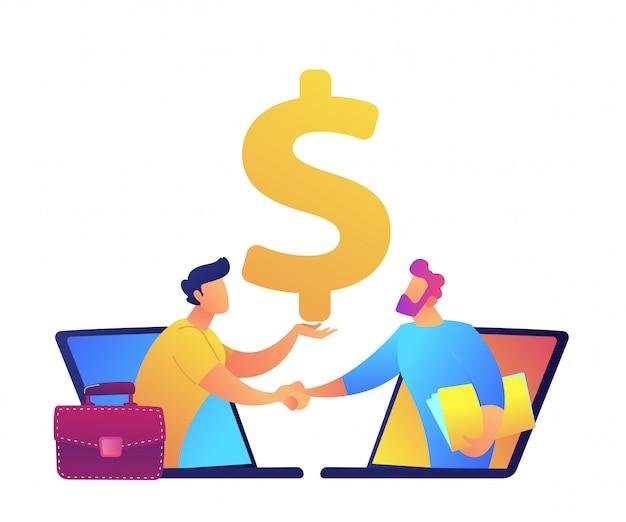 ノートパソコンの画面から握手するビジネスマンはベクトルイラストです。