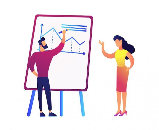 Диаграмма чертежа бизнесмена и обсуждать его с иллюстрацией вектора коммерсантки.