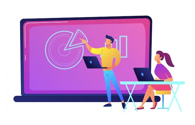 大きなノートパソコンの前に座って、講師のベクトル図を聞いている学生。