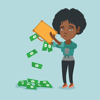 無一文の女性がブリーフケースからお金を揺する。