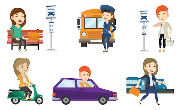 Транспорт векторный набор с людьми, путешествующими.