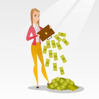 Банкрот вытряхивает деньги из своего портфеля.