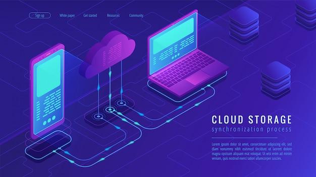 Изометрические облако хранения концепции целевой страницы.