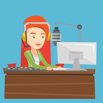 Женский диджей работает на радио иллюстрации