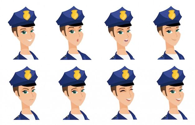 警官の文字のセットです。