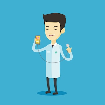 Доктор показывает приложение для измерения пульса сердца.