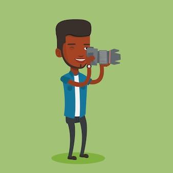 Фотограф, принимая фото иллюстрации.