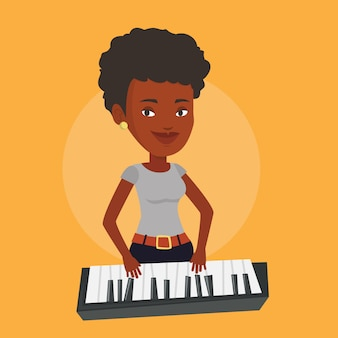 Женщина играет пианино иллюстрации.